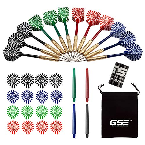GSE Games & Sports Expert 18 Grams/ 24 Grams Professional Steel Tip Darts Set with Dart Sharpener & Storage Bag (Several Styles Available) (Classic - 18 Grams/12 Pack)