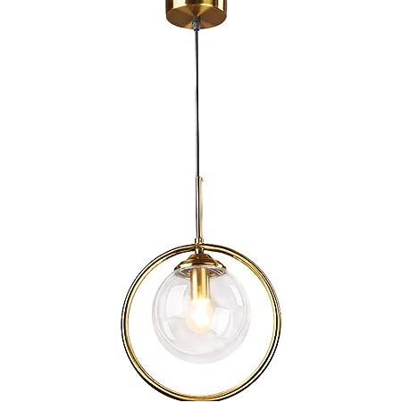 HJXDtech Suspension Lampe Industrielle Vintage, Plafonnier Lustre en Laiton avec Abat-jour en Verre Clair, Luminaire Suspension loft Moderne pour Cuisine Chambre Salon