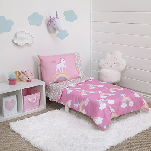 Little Tikes Rainbow Unicorn 4 Piece Toddler Bedding Set, Pink