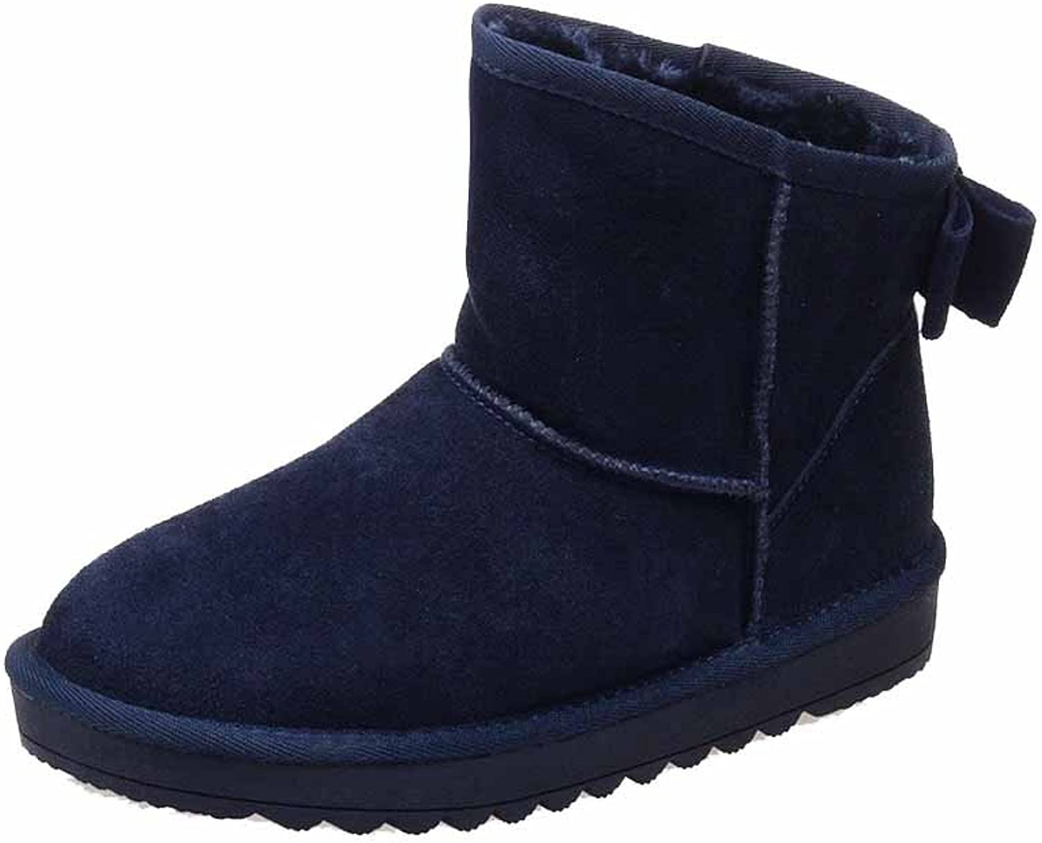 AmoonyFashion Women's Round Closed Toe Low-Heels Frosted Low-top Solid Snow-Boots