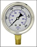 Liquid Filled Pressure Gauge, 2.5' DIAL Display, Stainless Steel CASE, Brass INTERNALS, 1/4' Male NPT Lower Mount Connection, Dual Scale PSI & BAR (0-5000)