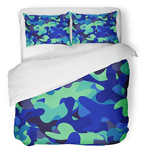 Emvency 3 Piece Duvet Cover Set Brushed Microfiber Fabric Breathable Green Bubble Abstract Chaotic Spotted Blue and Teal Camouflage Chaos Color Bedding Set with 2 Pillow Covers Twin Size