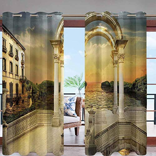 Dasnh Outdoor Curtain Anti-UV Windproof Curtains with Grommet Top Surreal Bridge Gateway with Ornaments W84 x L108 for Porch Balcony Pergola Patio