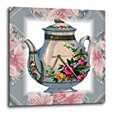 3dRose dpp_37380_1 Victorian Flower Teapot on Blue/Pink Floral Background Wall Clock, 10 by 10-Inch