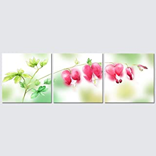 Wieco Art 3 Piece Floral Giclee Canvas Prints Wall Art Pink Dream Pictures Paintings Home Decorations for Living Room Bedroom Kitchen Modern Stretched and Framed Grace Contemporary Flowers Artwork