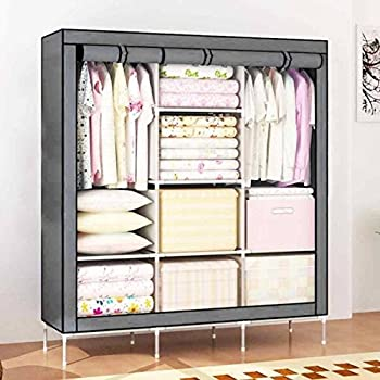 Maison & Cuisine 6+2 Layer Fancy and Portable Foldable Collapsible Closet/Cabinet (Need to Be Assembled) (88130) (Grey)