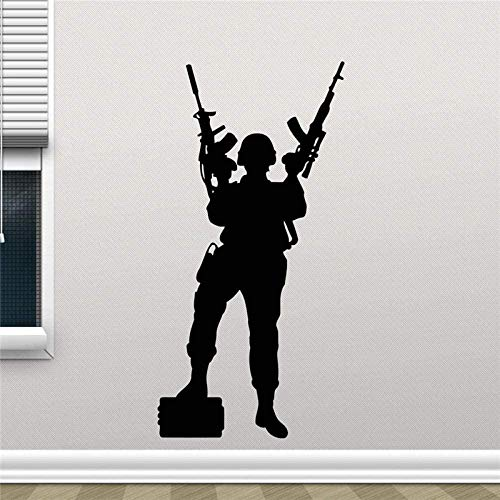 Etiqueta de la pared Fuerzas especiales Muro de la pared Policía Sniper Soldado Etiqueta de la pared Pegatina de caza Pegatina de vinilo Sala de estar Decoración de la casa 45 x 90 cm