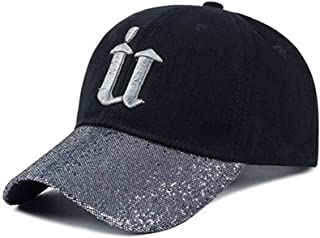 Hats Men's Spring and Summer Outdoor Cotton Baseball Cap Ladies Fashion Fashion Wild U Letter Sequin Cap Fashion (Color : Silver)