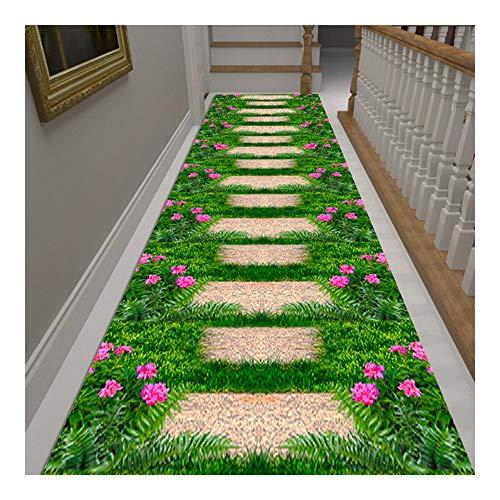 MDCG Entrada Felpudo Estéreo 3D Flores galería Alfombra Corredores Alfombras de área Corte arbitrario Personalizable (Color : A, Size : 80x800cm)