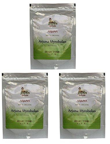 Bio ARJUNA Pulver (250g - 3er pack) Terminalia arjuna - 100% Bio-zertifiziertes pflanzliches Nahrungsergänzungsmittel der Lacon GmbH