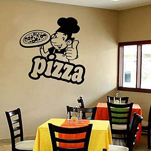 Pizza etiqueta de la pared puerta ventana vidrio vinilo pegatina comida italiana Pizza cocina italiana restaurante cocina decoración lindo Chef Mural