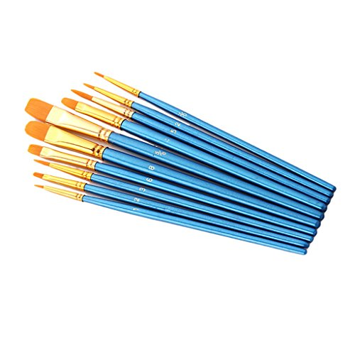 Alt® Nylonpinsel Pinsel Pinselset Aquarell Wasserfarbe Acryl Ölgemälde, plastik, himmelblau, 10 Stück