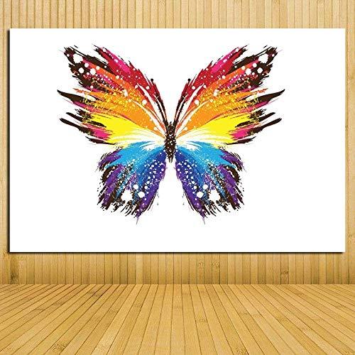 YuanMinglu Rahmenlose malerei Bunte abstrakte Tier Schmetterling Wand Poster leinwanddruck Moderne Wand pop Art Bild Dekoration 50x75 cm