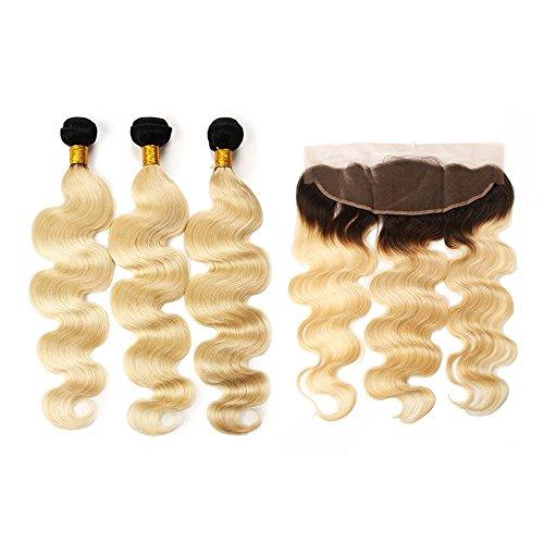 Mila 3 Tissage Court 8A Brésilien Body Wave en Lot Ombre 1B/613# Blond Platine Naturel Remy Cheveux Extensions avec Lace Frontal (10\