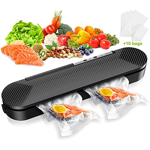 Vacuum Sealer Machine, STOON Automatic Food Sealer for Food Saver and Storage, Compact Vacuum Packing Machine with 10PCS Vacuum Sealing Bags Starter Kit for Sous Vide and Food Preservation