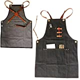 ZHONGPAI New Denim Jean Work Apron, Adjustable Shop Apron Chef Apron with Cross-back PU Straps