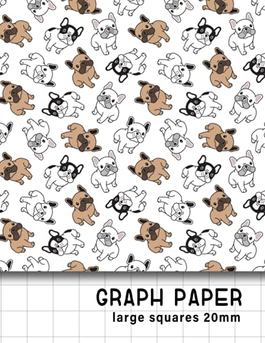Math Graph Paper Notebook: french bulldogs 20mm squares