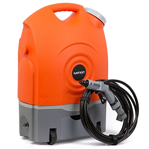 Ivation Multipurpose Portable Spray Washer w/ Water Tank - Runs on Built-in Rechargeable Battery, Home Plug and 12v Car Plug - Integrated Roller Wheels