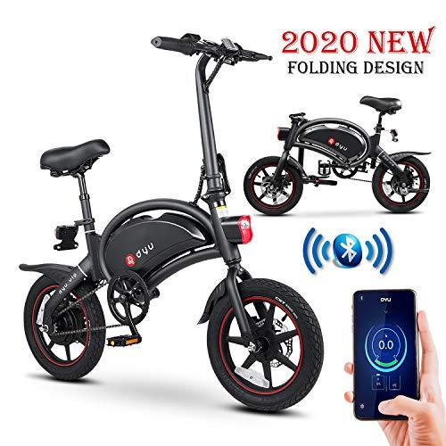 E-Bike Klapprad, E-Faltrad Damen Herren, Elektrofahrrad Alu 14zoll, 36V Lithium-Ionen-Akku, 250W, Höchstgeschwindigkeit 25 km/h, APP-Steuerung, CE-Zertifiziert (Schwarz - Max 25 km/h - 250 W/ 36 V)