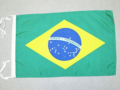 AZ FLAG Bandera de Brasil 45x30cm - BANDERINA BRASILEÑA 30 x 45 cm cordeles