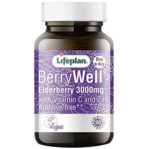 Lifeplan Berrywell Holunder 3000mg Ergänzung Mit Sambucus, Vitamin C + Zink - 60 capsules