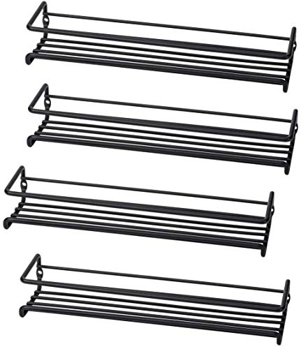 Set of 4 WallMount Spice Rack Organizers – Metal Hanging Racks for Cabinet Door or Pantry Door Over Stove Kitchen Cupboard Or Under Cabinet – by Unum