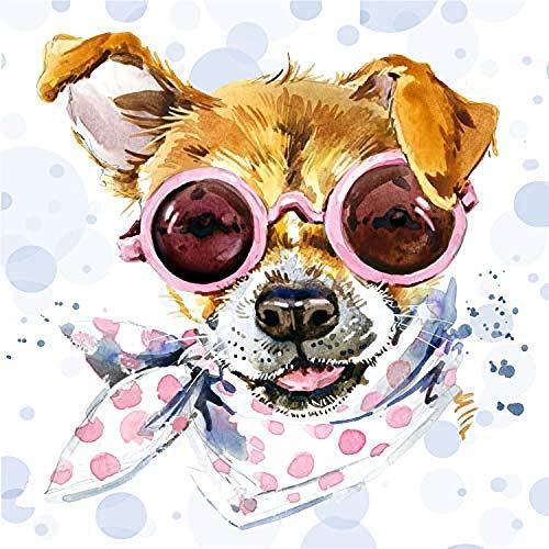 storefront Ölgemälde Blauer DIY Digitales Malen Nach Zahlen Mit Abstrakten Wohnkultur 40X50 Kits Malen Nach Zahlen Für Kinder Geschenk DIY Digitales Malen-Welpe Mit Sonnenbrille(Rahmenlos)