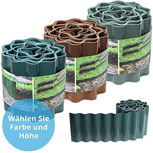 Raseneinfassung gewellt, 25cm hoch: Ideale Rasen-Abgrenzung, auch für Beete, 9 m, verhindert Wurzelausbreitung, aus Kunststoff, grün - Rasenkante gewellt
