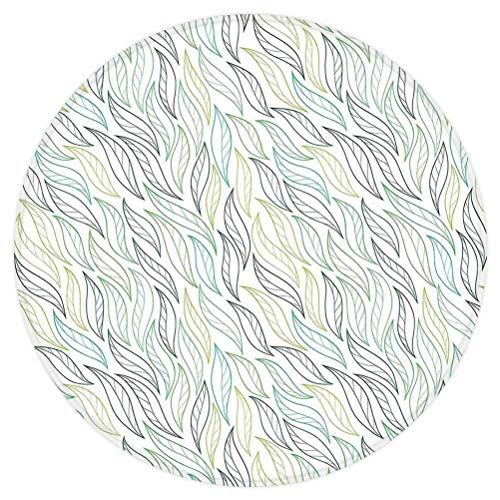Leaf Round Area Rug,Floral Leaf Patterns with Ornamental Lines Contemporary Graphic Art,for Living Room Bedroom Dining Room,Round 3'x 3',Green Soft Green Navy Blue