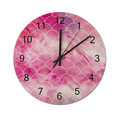 None-brands Reloj de pared con diseño de líneas rosas, 30,48 cm, silencioso, de madera, digital, funciona con pilas, para cocina, hogar, sala de estar, oficina