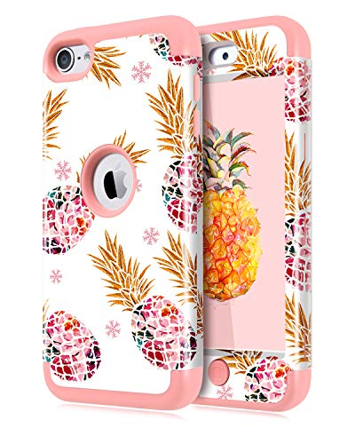 Dailylux Shockproof Case for iPod Touch 5 / 6 / 7th Generation, 3 in 1 Hard PC + Soft Silicone Hybrid Protective High Impact Cover for Apple iPod Touch 7, iPod Touch 6, iPod Touch 5, Pineapples
