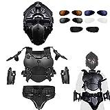 WTZWY Tactical Armor Vest Vollgesichts-Helmset - WST Outdoor Equipment Armor Verstellbare Ellbogenpolster-Taillendichtung, Schutzweste für die Airsoft Paintball-Jagd,Bk