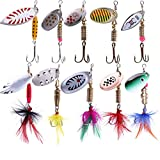 10 Pcs 2Box Fishing Spinner Kit Fishing Spinning Lure Metal Bait Bass Lures for Bass, Salmon, Pike or Walleye (10 Pcs Color Mixing)