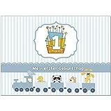 16 Einladungskarten zum 1. Kindergeburtstag für Jungen/Jungs blau - Einladungen für Kinder zum Geburtstag im Set