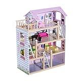 HOMCOM Casa delle Bambole a più Piani in Legno con Accessori, Rosa, 60 x 30 x 80cm