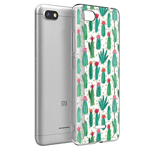 ZhuoFan Funda Xiaomi Redmi 6A, Cárcasa Silicona Transparente con Dibujos Diseño Suave TPU Antigolpes de Protector Piel Case Cover Bumper Fundas para Movil Xiaomi Redmi6A 2019, Cactus