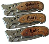Personalized Pocket Folding Knife with Metal Blade - Groomsmen Wedding Party Father's Day Gifts - Custom Monogrammed Engraved for Free