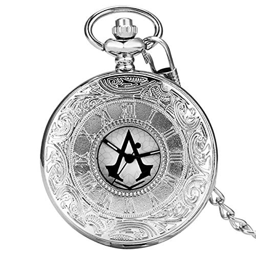 Reloj de Bolsillo Reloj de Bolsillo de Cuarzo de Bronce Antiguo/Plateado Reloj de Bolsillo con Grabado de números Romanos clásicos Regalo