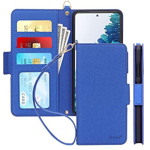 "Skycase Galaxy S20 Fe Case 5G 6.5"", Samsung Galaxy S20 Fe Wallet Case,[RFID Blocking] Handmade Flip Folio Wallet Case with Card Slots and Detachable Hand Strap for Samsung Galaxy S20 Fe 6.5"" 2020,Navy"