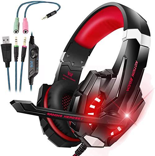 LESHP - Auriculares para gamer G9000con cable para PC, PS4, portátil, tableta y móvil - Con micrófono, audio estéreo, luz led y antirruido Noir+Rouge