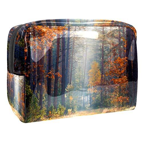 Bolsa de maquillaje portátil con cremallera bolsa de aseo de viaje para mujeres práctico almacenamiento cosmético bolsa otoño bosque luz sol otoño