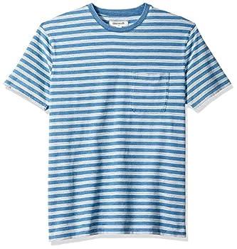 Amazon Brand - Goodthreads Men s Short-Sleeve Indigo Crewneck Pocket T-Shirt Light Triple Stripe Large