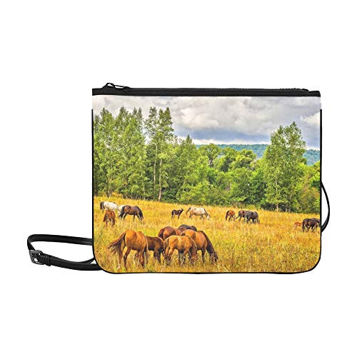 Horse Herd Weiden Field On Horse Benutzerdefinierte hochwertige Nylon Slim Clutch Cross Body Bag Schultertasche
