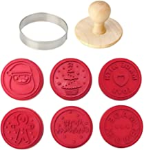 EZ KITCHEN 6 PCS Silicone Holiday Christmas Cookie Stamp Set with Round Cookie Cutter and Wooden Press Handle, Santa Clau...