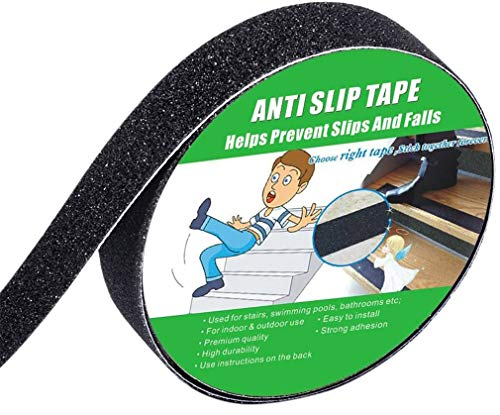Anti Slip Tape, High Traction,Strong Grip Abrasive, Not Easy Leaving Adhesive Residue, Indoor & Outdoor (1  Width x 190  Long, Black)