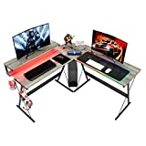 Bestier L-Shaped RGB Gaming Desk,55.2'' LED Lights Computer Storage with Cup Holder and Headphone...