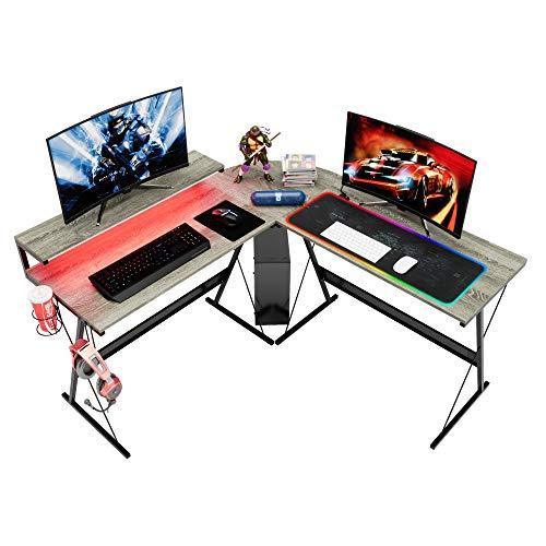 Bestier 55.2'' L-Shaped Home Office Computer Desk with Large Ergonomic Stand Modern Corner PC Laptop Workstation Study Writing Desk Gaming Desk with LED Strip Light Headset Hook Grey