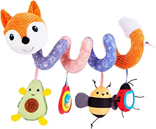 JAWSEU Barnvagn spjälsäng leksaker, baby spiral aktivitet hängande leksaker, spjälsäng hängande spiral plysch leksak mobil...