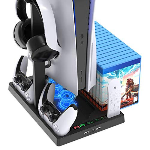 FASTSNAIL Ventilador para PS5, estación multifunción para Playstation 5 Digital Edition/Ultra HD, con estación de carga de doble controlador y 15 ranuras para juegos y soporte para auriculares