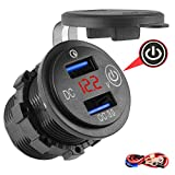 SAMDO Quick Charge 3.0 Dual USB Car Charger, 36W 12V USB Outlet Waterproof Fast Charge Cigarette Lighter Adapter with Switch & Voltmeter for Car Boat Marine ATV RV Bus Truck etc